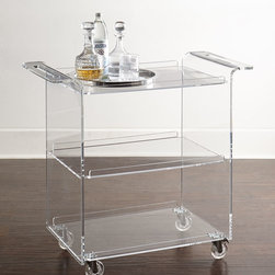 """Horchow - Nicole Acrylic Bar Cart - CLEAR ACRYLIC - Nicole Acrylic Bar CartDetailsMolded acrylic bar cart.Cut-out waterfall handles.Three shelves; 10.25"""" between shelves.34.25""""W x 18""""D x 32.5""""T.Imported.Boxed weight approximately 53 lbs. Please note that this item may require additional delivery and processing charges."""
