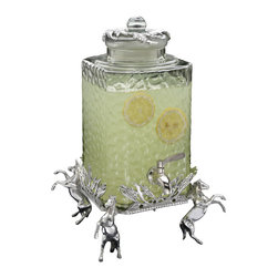 Arthur Court - Horse Beverage Server, 2.5 Gallon - Display your love of horses as you slake guests' thirst. Four rearing steeds bear a tall, textured glass vessel, complete with serving spigot — a magnificent piece for your important affair.