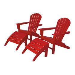 Polywood - 4-Piece Adirondack Seating Set in Sunset Red - Solid, heavy-duty construction withstands natures elements. Bring an eclectic blend of art deco and traditional style to your outdoor living space with the Polywood South Beach 4-Piece Adirondack Set. You will love the chairs roomy seats and curved backs while the matching ottomans provide the ultimate in total relaxation. Built to last and look good over time with very little maintenance. Polywood lumber requires no painting, staining, waterproofing, or similar maintenance. It does not splinter, crack, chip, peel or rot and it is resistant to corrosive substances, insects, fungi, salt spray and other environmental stresses.