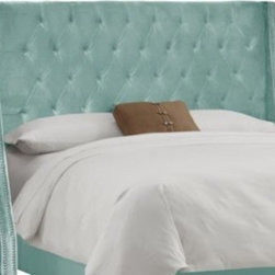 Skyline Furniture - Skyline Tufted Nail Button Wingback Headboard in Velvet Caribbean - Elegance and luxury unite with this exquisite nail button tufted swoop arm headboard. Upholstered in lush velvet, it boasts an abundance of carefully handcrafted diamond tufts. The wings are finished with a gleaming double row nail button trim.