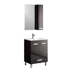 "Fine Fixtures - Fine Fixtures Complete Atwood Vanity Collection, Black, 24"", Vanity - Contemporary. Striking. Original. Those are the hallmarks of Atwood. By all means, this bold collection elevates your entire space without even breaking a sweat. It comes in your choice of high-gloss Black, White and Gunmetal Gray, all finished in a strong lacquer for lasting water resistance. So yes, Atwood does practical as well as it does panache. Now that's a winning combination"