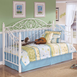 None - Signature Designs by Ashley Exquisite White Metal Day Bed and Deck - This Exquisite metal day bed from Ashley Furniture features a beautiful metal frame sporting detailed scrollwork. Finished in crisp white,this luxurious bed will add a sophisticated touch to any bedroom.