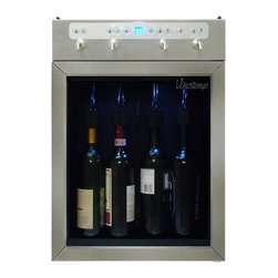 4-Bottle Wine Dispenser (Stainless) - Preserve, chill and dispense up to 4 bottles of wine with the Vinotemp 4 Bottle Wine Dispenser. Push button controls make it easy to pour the perfect glass of red or white wine. The portion control feature allows you to customize the amount of wine dispensed into a glass, so you never have to worry about serving the wrong amount. The VT-WINEDISP4 makes the perfect gift for the wine aficionado in your life, and it's also a great way for restaurants and bars to serve and preserve open bottles of wine.