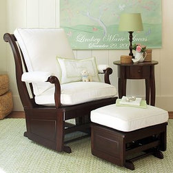 Larkin Glider - Nobody does a beautiful and sleek rocker like Pottery Barn, and this is a favorite of mine. Smooth lumbar-friendly cushions pair with nicely finished wood for a beautiful chair that will look great for years to come.