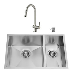 "VIGO Industries - VIGO All in One 29-inch Undermount Stainless Steel Double Bowl Kitchen Sink and - Give your kitchen a fresh new look with a VIGO All in One Kitchen Set featuring a 29"" Undermount kitchen sink, faucet, soap dispenser, two matching bottom grids and two sink strainers."