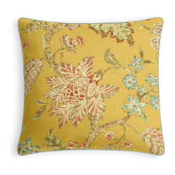 Yellow Delicate Floral Micro Corded Throw Pillow - Every decorator knows: it's the details that make a room.  That's why we love the Microcord Throw Pillow with a thin piped edge that adds just a hint of color.  We love it in this transitional floral in sunny yellow with springy pinks & greens on soft breezy linen.  the perennial favorite floral of loom stylists & clients alike!