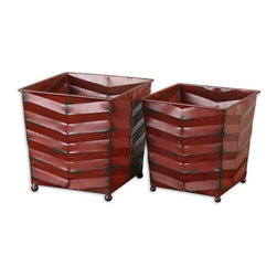 The Uttermost Company - Ralston Red Planters - Hand forged and hand hammered metal planters finished in distressed, burgundy red with dark brown undertones.  Sizes:  Sm-7x8x7, Lg-8x9x8.