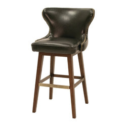 Four Hands - Julie Swivel Barstool - When this leather bar stool swivels and turns away, it's only to show off her smooth curves and tufted back. Dressed in black bicast leather with nailhead trim, this seat means you get to sip (or sup) in luxury at your bar or kitchen island.