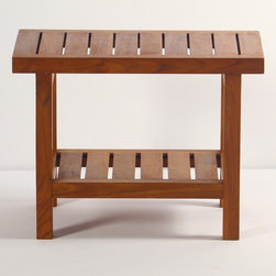 """Aqua Teak - Spa Teak Shower Bench with Shelf - A solid teak stool with an additional shelf. Stool is appropriate for use in the shower, bathroom, deck, or patio. The classic modernistic style fits in both modern, or traditional decors. Provides both functional and esthetic features to your décor. Teakwood has a life expectancy of 75 years if left untreated due to its natural rubber content that naturally resists moisture. This makes teak products ideal for indoor and outdoor use. No other wood compares to Teak when it comes to durability, elegance, stability and low maintenance. We only use wood from government owned plantations that practice sustained harvesting. This means that harvesting is controlled to be no more than the rate of reforestation in any given year. Features: -Shower bench. -Spa Teak collection. -Material: Solid teak. -Modern contemporary design. -Extra shelf for storage. -Classic spa design. -Use indoors or outdoors. -Water and mildew resistant. -Pre-stained with factory teak oil. -5 Years limited warranty. Dimensions: -18"""" H x 24"""" W x 13.75"""" D, 23 lbs."""