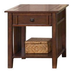 Liberty Furniture - Liberty Furniture Prairie Hills 26x21 Rectangular End Table in Cherry, Medium Wo - Accent your living area with this Mission style end table. Simple in design, it features softly tapered legs and square spindle sides for decorative detail. One drawer with wood on wood drawer glides provides space to tuck away small items, and a lower inlay shelf is perfect for placing home accents and decorations. Warming with a satin Cherry finish, an antique brass knob with a back plate offers a charming touch to top off the table's design. Place beside a sofa or living chair to complete your home's living space. What's included: End Table (1).