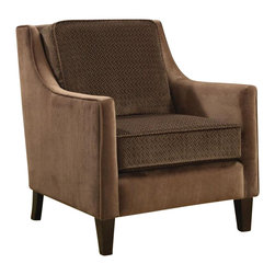 Coaster - Coaster Accent Chair in Microvelvet Cappuccino - Coaster - Club Chairs - 902043 - With cushions wrapped in an embossed basket-weave micro velvet, feel and see the essence of comfort. Legs in cappuccino.