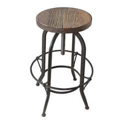 Elemental Reclaimed Wood Industrial Adjustable Counter Bar Stool