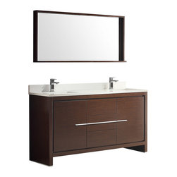 "Fresca - Fresca Allier 60"" Brown Modern Double Sink Bathroom Vanity w/Mirror, Wenge Brown - The Fresca 60"" Allier double sink bathroom vanity is the perfect model for the newlywed.  It offers his and hers separate sinks, along with a unique square design.  Plenty of storage space is available with an additional shelf on the matching mirror.  Many faucet styles to choose from."