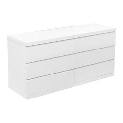 White Line Imports - Anna High Gloss White Double Dresser - Bring fresh accent to your bedroom with this stunning double dresser that will nicely hide all your bedroom stuff and keep the room neat. The shining white finished dresser features sleek design and 6 spacious storage drawers. Enjoy the comfort and luxury of the Anna High Gloss White Double Dresser in your bedroom and astonish all your guests.