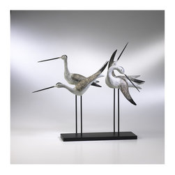 Cyan Design - Cyan Design Sculptural Sandpiper Quartet X-71510 - Several sandpipers stand in various poses on this Cyan Design sculptural quartet. This sandpiper quartet has been created with cast iron pieces, from the beak and feathers to the base. The birds are each done in a blend of Gray and Weathered White, completing the look.