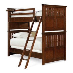 Universal - Smart Stuff - Roughhouse Bunk Bed - The lights switch off; tiny feet scurry across the floor. Laughter booms and subtle snickering echoes down the hall as your children hunker down for the night in their Rustic Cherry Bunk Beds from Universal Furniture. Available in Twin over Twin, Full over Full, or Twin over Full, this fun and functional bunk bed set has everything your growing boys could ever need, including: a clock shelf, metal joining pegs for stacking, a grooved step ladder, and even space for a Trundle bed or storage unit.