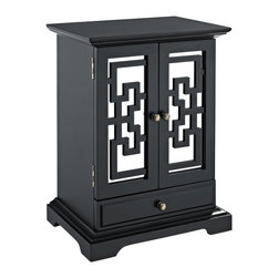 Powell Furniture - Powell Bombay Larissa Jewelry Box in Black Finish - Powell Furniture - Jewelry Boxes - 126J112 - Organize your precious jewels in the Larissa jewelry box from the impressive Bombay collection. It is painted in a smooth black finish on the outside and has a tarnish-resistant black lining inside. This jewelry armoire has two mirrored doors with geometric decorations. This beautiful jewelry box contains eight central ring rolls and opposing sliding storage cubbies with six hooks each. A fully lined interior drawer and an exterior lined drawer provide further storage space. Antique brass hardware complements its design and completes the elegant look.