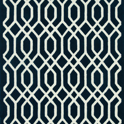 "Loloi - Loloi Brighton BT-09 (Navy) 3'6"" x 5'6"" Rug - There are geometric rugs and then there is the striking Brighton Collection, which sets the new standard for boldly patterned rugs. Hand-tufted in India of 100% wool, these carefully selected yarns are hand-dipped into rich dye lots, producing lively colors that pair fabulously with bold geometric patterns. On the surface, cut and loop pile combine to create varying heights and textures for added visual interest, which creates a sense of dimension unavailable in many other geometric rugs. Available for a value-oriented price, Brighton proves eye-catching design and great price does not have to be mutually exclusive."