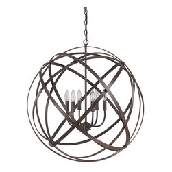 """Capital Lighting - Axis 6-Light Chandelier - Russet - Standard - Axis Russet 6-Light Chandelier.  Available with or without crystals.  Russet finish.  Takes six 60W Candelabra bulbs.  Canopy: 5"""" round.  Chain Length: 10'  Wire Length: 15'"""
