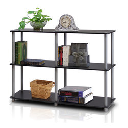 Furinno - Furinno 99130BK/GY Turn-N-Tube Wide Rack - Furinno Turn-N-Tube Series storage shelves comes in 2-3-4-5-Tiers and variety of width and depth. This series of products also includes difference sizes width, height and different fun colors. This series is designed to meet the demand of fits in space, fits on budget and yet durable and efficient furniture. It is proven to be the most popular RTA furniture due to its functionality, price, and the no hassle assembly. The DIY project in assembling these products can be fun for kids and parents. There are no screws involved, thus it is totally safe to be a family project. Just turn the tube to connect the panels to form a storage shelf. The materials comply with eco-friendly  particle board for furniture processed from parts of rubber trees. There is no foul smell of chemicals, durable and it is the most stable particleboard used to make RTA furniture