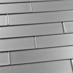 """Elements Platinum 2x12 Glass Subway Tiles, Two 2"""" X 12"""" Samples - A silvery 2x12 glass subway tile with subtle color variation from tile to tile. Arrange them in the pattern of your choice. These one of a kind glass subway tiles have a textured painted backing that ads a touch of character without overpowering a room. Elements is available here on Houzz in 6 great color options in both 4x6 and 2x12 formats."""