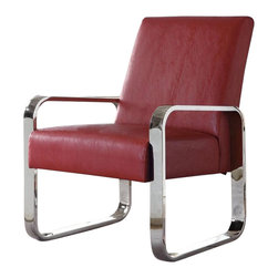 Coaster - Coaster Accent Seating Leisure Chair with Metal Arms in Red - Coaster - Accent Chairs - 900313 - Keep it clean and simple with this modern accent chair in your home decor. The piece carries either a black gray red green or white high-performance vinyl that contrasts beautifully with silver chrome arms and legs. With contemporary style to spare this upholstered leisure chair is bound to please.