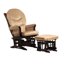 Dutailier - Dutailier Sleigh Glider and Ottoman Set in Espresso and Light Brown - Dutailier - Gliders & Rockers - C0061C693091 - About This Product: Ideal for nursing or simply relaxing, this Sleigh glider and ottoman combo offers an exceptionally smooth and extra long glide motion with thick cushions and padded arms that will add class and elegance to your decor. There are no sharp edges, the finish is toxic free and this product meets all safety standards.