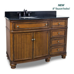 "Hardware Resources - Elements Bathroom Vanity - Compton Walnut 48"" Single Vanity with Preassembled Top and Bowl by Bath Elements, This 48"" wide MDF vanity has simple beadboard doors and curved shape to accent the traditional cottage feel. The Walnut is created by hand, making each vanity unique. A large cabinet, fully functional top drawer fitted around plumbing and offset bank of drawers, equipped with ball bearing slides, provide ample storage. This vanity has a 2CM black granite top preassembled with an H8809WH (15"" x 12"") bowl, cut for 8"" faucet spread, and corresponding 2CM x 4"" tall backsplash. - Faucet must be purchased separately"