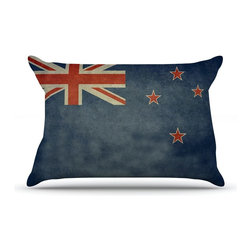 """Kess InHouse - Bruce Stanfield """"Flag of New Zealand"""" Blue Pillow Case, Standard (30"""" x 20"""") - This pillowcase, is just as bunny soft as the Kess InHouse duvet. It's made of microfiber velvety fleece. This machine washable fleece pillow case is the perfect accent to any duvet. Be your Bed's Curator."""