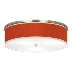 "Stacy Garcia - Stacy Garcia Crackled Square Coral 20 1/4"" Ceiling Light - Add new style with this energy-efficient flushmount light. This stylish, energy-efficient flushmount fixture features a pattern by designer Stacy Garcia printed on high-quality canvas. An acrylic diffuser at the bottom prevents glare from the three included CFL bulbs. The canopy and accents are in a brushed nickel finish. Flushmount style ceiling light. U.S. Patent # 7,347,593."