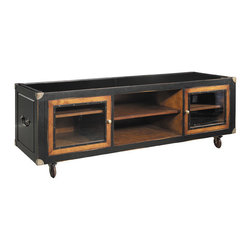 """Inviting Home - Media Cabinet - Media cabinet made of rich luxurious cherry wood and has lustrous distressed black accents; 22"""" x 67"""" x 24-3/4""""H; There will be days you might just want to wheel the campaign console to the master bedroom for a 24-hour retreat. Mother-in-law caring for the kids and dishes. The opulence of viewing multiple movies... This media cabinet will glide soundlessly and effortlessly in any direction ready for hook-up. Media cabinet made of rich luxurious cherry wood and has lustrous distressed black finish. Media cabinet features out of the ordinary bronze hardware."""
