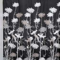 InterDesign - Black & White Daisies Shower Curtain - Breathe new life into your bathroom décor with this beautiful shower curtain, highlighted by a nature-inspired motif and easy-care polyester construction.   72'' W x 72'' H 100% polyester Machine wash Imported
