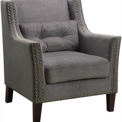 Coaster - Accent Chair, Grey - Elegant and comfortable. This accent chair features padded seating, slightly curved arms, wood legs, decorative nailheads and an included accent pillow. Wrapped in a soft grey fabric, making it easy to match with your home decor.
