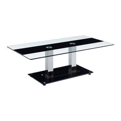 Global Furniture - Global Furniture USA T2108 Rectangular Glass Coffee Table with Silver Legs - This table features clear glass top with a black strip and chrome metal legs and black base to finish the look.