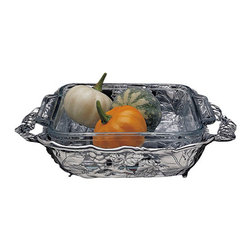 Arthur Court - Grape Casserole with 2-Quart Square Pyrex Dish - For the next potluck dinner, bring your offering in this gorgeous serving bowl. All other casseroles will bow their owners' heads in shame. Just make sure you remember to take it home. You know how that goes.