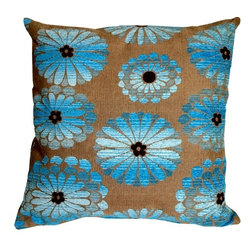 Pillow Decor Ltd. - Pillow Decor - Shasta Blue Floral Throw Pillow - Bring some beautiful fresh flowers into your home with this contemporary floral design throw pillow. The substantial weight of the fabric makes it durable, rich and appealing. The large floral pattern is in bright luxurious chenille blues with a chocolate brown chenille center. The background color is a dark sand stone gray flecked with espresso brown.