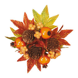 """Oddity - Oddity 1"""" Fall Pomegranate Berry Cone Candle Ring - Customer Top Rated! Clusters of cones, berries and leaves create an ablaze of color creating this 1"""" candle ring just in time for fall decorating."""