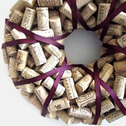 Plummy Wine Cork Wreath by Lizzie Joe Designs - This is perfect for the wine lover's cellar or kitchen!