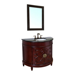 Bellaterra Home - 42 in Single sink vanity-colonial cherry-wood - This lovely sink chest is detailed with leafy scroll lines that combine with a contrasting two-toned finish in a bathroom vanity exemplifying luxurious elegance. Hand carved acanthus and fluted detail on this solid  hardwood sink chest includes a Baltic brown granite top. Constructed entirely by hand. Two working doors open to storage area. Includes under-mount cUPC white ceramic sink. Birch + plywood