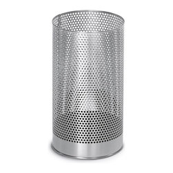 Blomus - Pako Stainless Steel Wastepaper Basket - Includes plastic insert. Open top. Made of stainless steel. 1-Year manufacturer's defect warranty. 8.3 in. Dia. x 15.2 in. H