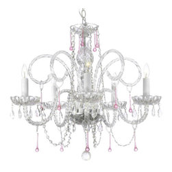 The Gallery - Pink Crystal Chandelier - A hint of tint. This elegant crystal chandelier incorporates just a bit of pale pink to add an aura of rosy color to your room.