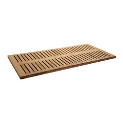 "47"" x 24"" Rectangular Teak Shower Mat - A necessity for a bath or steam room, the 47"" x 24"" Rectangular Shower Mat is composed of teak, making it naturally moisture resistant and beautifully enduring."