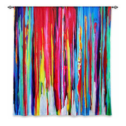 "DiaNoche Designs - Window Curtains Lined by Jackie Phillips Neon Abstract - DiaNoche Designs works with artists from around the world to print their stunning works to many unique home decor items.  Purchasing window curtains just got easier and better! Create a designer look to any of your living spaces with our decorative and unique ""Lined Window Curtains."" Perfect for the living room, dining room or bedroom, these artistic curtains are an easy and inexpensive way to add color and style when decorating your home.  This is a woven poly material that filters outside light and creates a privacy barrier.  Each package includes two easy-to-hang, 3 inch diameter pole-pocket curtain panels.  The width listed is the total measurement of the two panels.  Curtain rod sold separately. Easy care, machine wash cold, tumble dry low, iron low if needed.  Printed in the USA."