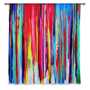 "DiaNoche Designs - Window Curtains Lined by Jackie Phillips Neon Abstract - Purchasing window curtains just got easier and better! Create a designer look to any of your living spaces with our decorative and unique ""Lined Window Curtains."" Perfect for the living room, dining room or bedroom, these artistic curtains are an easy and inexpensive way to add color and style when decorating your home.  This is a woven poly material that filters outside light and creates a privacy barrier.  Each package includes two easy-to-hang, 3 inch diameter pole-pocket curtain panels.  The width listed is the total measurement of the two panels.  Curtain rod sold separately. Easy care, machine wash cold, tumble dry low, iron low if needed.  Printed in the USA."