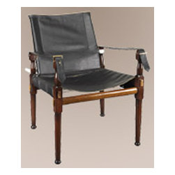 "Authentic Models - Authentic Models Campaign Chair - Enjoy the combination of Victorian comfort, and timeless look. A classic assembly campaign chair used in the British Imperial Army as an officer's chair when in the camp.               * Made of heavy, double-layered cowhide, natural leather piping, and brass hardware.      * Dimensions: 22.45"" x 22.45"" x 31"""