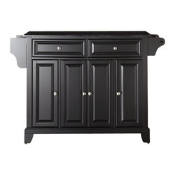 Crosley Furniture - Crosley Furniture Newport Solid Black Granite Top Kitchen Island in Black Finish - Crosley Furniture - Kitchen Carts - KF30004CBK - Constructed of solid hardwood and wood veneers this kitchen island is designed for longevity. The beautiful raised panel doors and drawer fronts provide the ultimate in style to dress up your kitchen. Two deep drawers are great for anything from utensils to storage containers. Behind the four doors you will find adjustable shelves and an abundance of storage space for things that you prefer to be out of sight. Style function and quality make this mobile kitchen cart a wise addition to your home.
