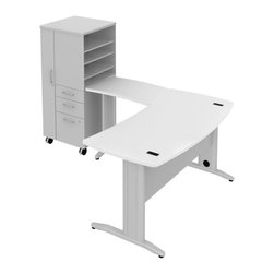 """Bush - Bush Sector 60"""" LH L-Shape Curved Desk with File Locker in White - Bush - office Sets - SEC021LWH - Bring everyone together in an open work environment and have a portable place for coats files papers and supplies. Bush SECTOR Series Suite 21LAC in White with 60""""W x 60""""D Curved L Desk 60""""W Curved Work Surface and 30""""W x 20""""D Curved Return Work Surface plus 24""""W LH Mobile Storage/File Locker let you spread out in style. Affordable workstation L-desks and work surfaces are easily reconfigurable. Metal-to-metal connections allow repeated attaching and detaching without joint fatigue. Includes two cove red ports for cord and cable management. Four-gang USB hub allows quick connections for recharging phones or connecting peripherals. Go anywhere large lockable left hand storage compartment includes convenient coat hook. Two box drawers for personal or office supplies. Secure lockable file drawer for letter- legal-and A4-size files. Easily moveable yet secure when positioned by two locking and two swivel casters. Attractive anodized Aluminum drawer pulls fit all styles. Straight-leg kit with raceway under desk and removable side leg panel allow hiding of unsightly cords and cables. Rugged Diamond Coat top surfaces resist marking staining and abrasions. Includes Bush 10-year warranty."""