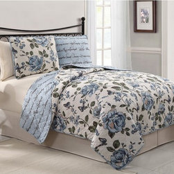 Victoria Classics - Victoria Classics Bella 3 pc. Reversible Quilt - BLL-3QT-KING-IN-RD - Shop for Bedding Sets from Hayneedle.com! Bring romance to your guest suite with the Victoria Classics Bella 3 pc. Quilt Set. A serene combination of quiet flowers and beautiful script this quilt set adds comfort and soothing color. It features a reversible quilt and two reversible pillow shams for two complete looks in one set. The quilt is made machine-washable from a soft blend of cotton and polyester. It has an oversized floral print on one side and elegant script on the reverse. This set comes in your choice of sophisticated color and size. Quilt Dimensions:Queen: 86W x 86L inchesKing: 101W x 86L inches