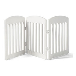 "Grandin Road - 20""H Freestanding Wooden Pet Gate - Panels fold in both directions for easy and versatile arrangement. Folds neatly away when not in use. Blends magnificently with any decor. This beautifully crafted Freestanding Wooden Pet Gate is unlike the cumbersome gates of the past. Our solid mahogany gate limits your pet's access to certain areas of your home without creating the distraction of an imposing blockade.  .  .  . Note: This product is designed for pet use only."