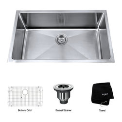 Kraus - Kraus 30 inch Undermount Single Bowl 16 gauge Stainless Steel Kitchen Sink - *Add an elegant touch to your kitchen with a unique and versatile undermount sink from Kraus